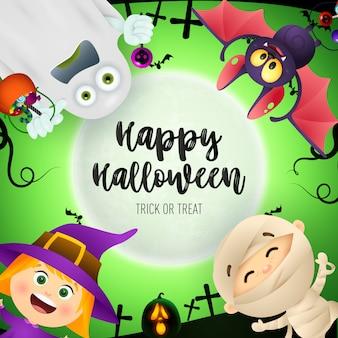 Letras de feliz halloween, murciélago, fantasma, niños en trajes de monstruos
