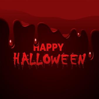 Letras de feliz halloween con sangre espesa que gotea