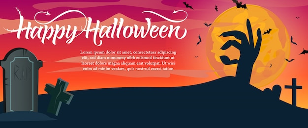 Letras de feliz halloween, texto de muestra y cementerio
