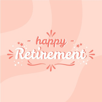 Letras de feliz jubilación dibujadas a mano