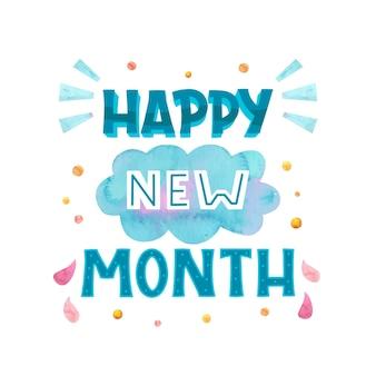 Letras de 'feliz mes nuevo' con elementos dibujados a mano