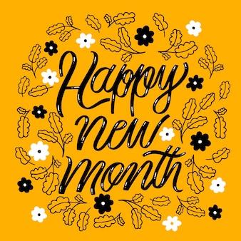 Letras de feliz mes nuevo con elementos dibujados a mano