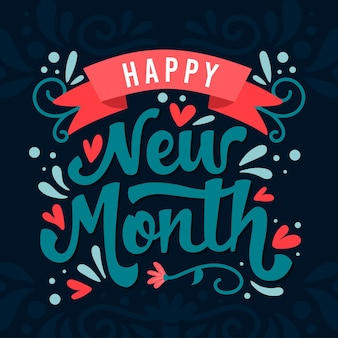 Letras de feliz mes nuevo con elementos dibujados