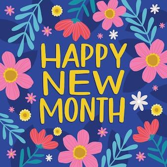 Letras de 'feliz mes nuevo' con elementos planos orgánicos