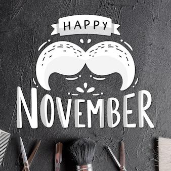 Letras feliz movember con bigote