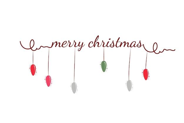 Letras de feliz navidad con adornos dorados y plateados y decoración de corona de estrellas.tarjeta de felicitación caligráfica de feliz navidad