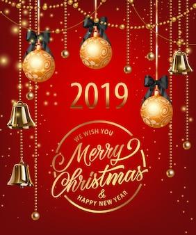 Letras de feliz navidad con adornos, guirnaldas y campanas.