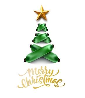 Letras de feliz navidad en el árbol de navidad de cinta verde con cordones verde
