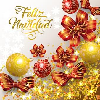 Letras de feliz navidad con confeti y adornos.