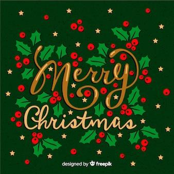 Letras de feliz navidad con detalles dorados