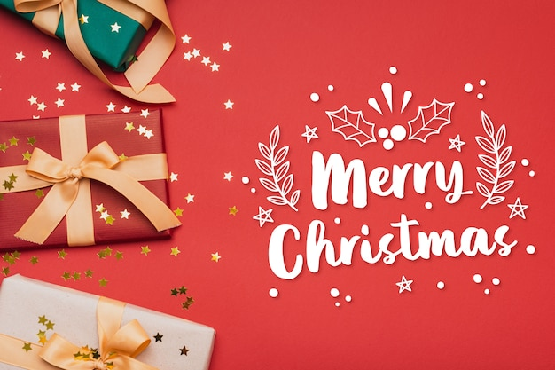 Letras de feliz navidad en la foto de navidad