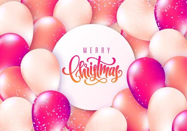 Letras de feliz navidad en globos voladores brillantes realistas y confeti brillante