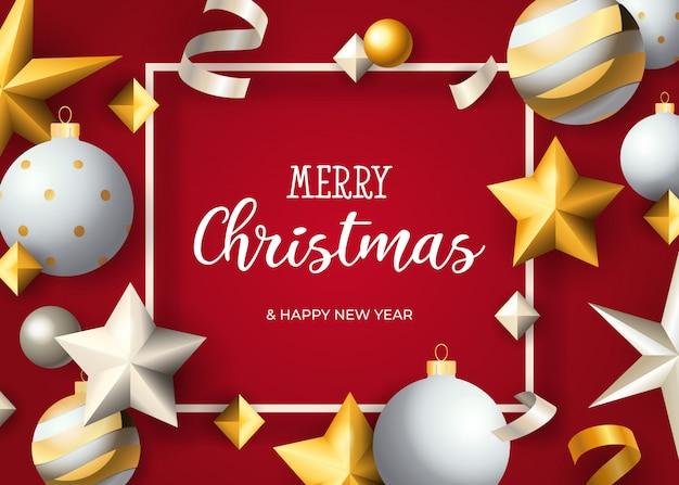 Letras de feliz navidad en marco, bolas, estrellas, serpentinas