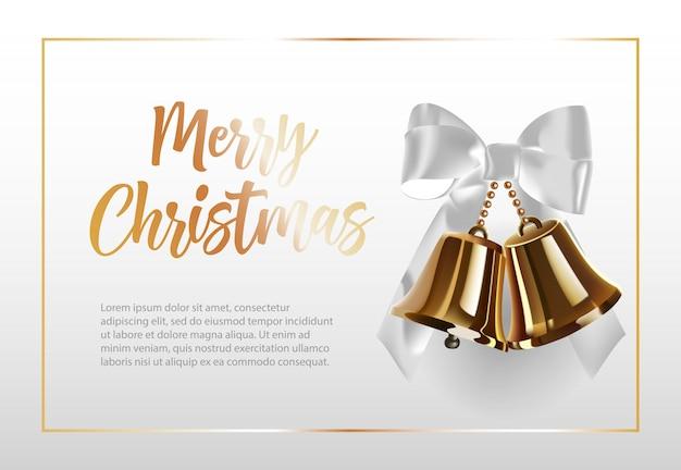Letras de feliz navidad en el marco con campanas