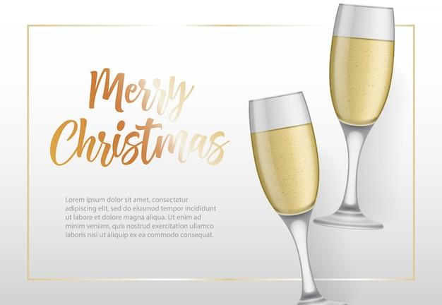 Letras de feliz navidad en marco y copas