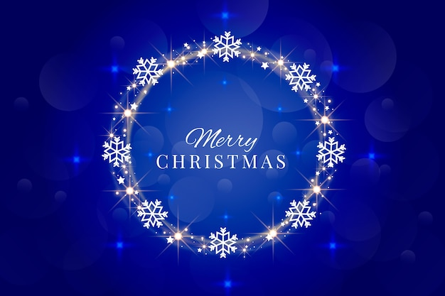 Letras de feliz navidad con marco de copos de nieve