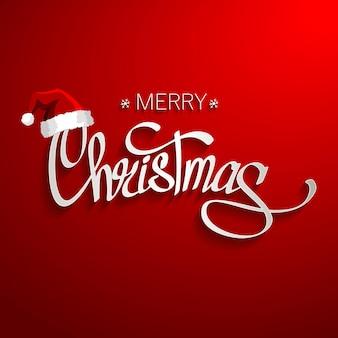 Letras de feliz navidad con sombrero de santa