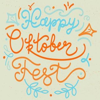 Letras de feliz oktoberfest para pegatina, impresión. bandera del festival de la cerveza. vector
