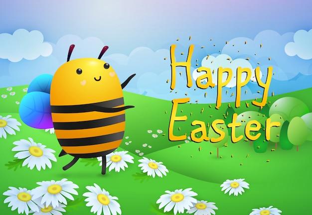 Letras de feliz pascua y abeja en el césped con flores