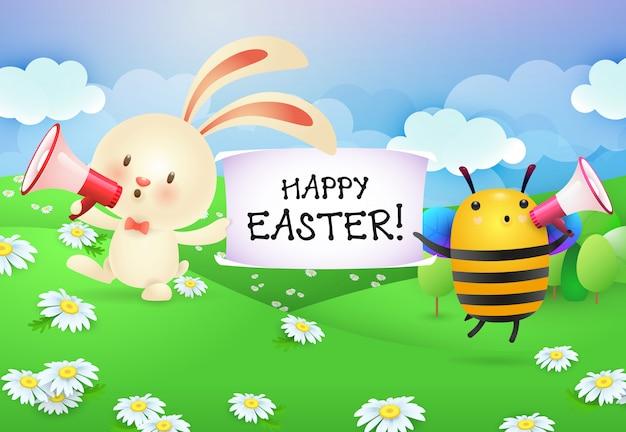 Letras de feliz pascua en banner sostenido por conejito y abeja
