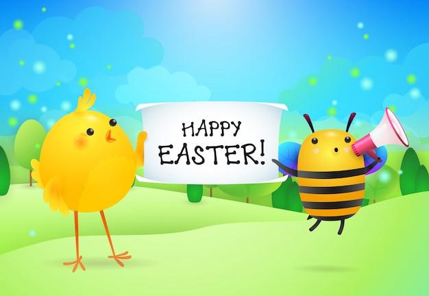Letras de feliz pascua en banner sostenido por pollo y abeja