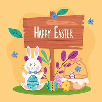 Letras de feliz pascua en etiqueta de madera con conejo y huevos pintados en la ilustración de la cesta