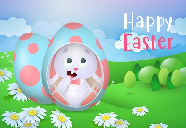 Letras de feliz pascua con lindo conejito en huevo