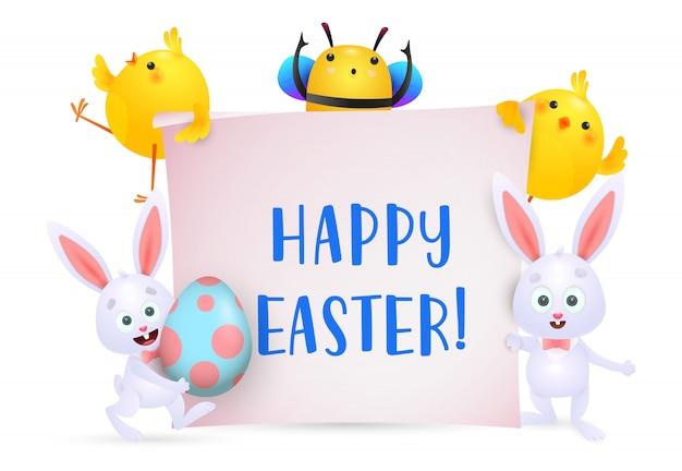 Letras de feliz pascua con personajes de abejas, pollitos y conejos