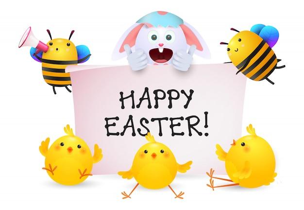 Letras de feliz pascua con personajes de conejos, abejas y polluelos