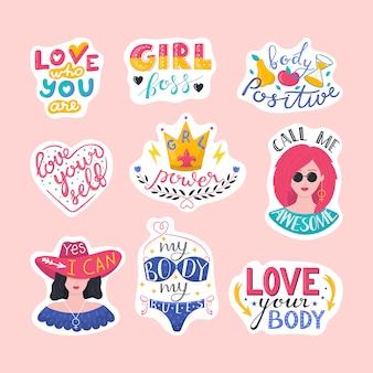 Letras de feminismo o tipografía, citas de poder femenino para imprimir un conjunto de ilustraciones. citas feministas, lemas de motivación de la mujer. elementos de letras para estampados de camisetas femeninas, carteles.