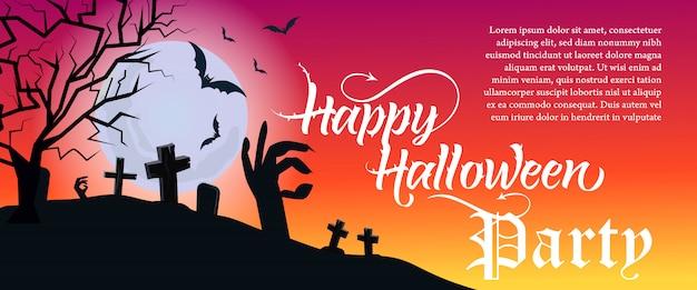 Letras de fiesta de halloween feliz con cementerio y árbol