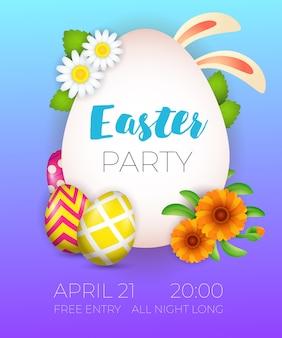 Letras de la fiesta de pascua, orejas de conejo, huevos y flores.