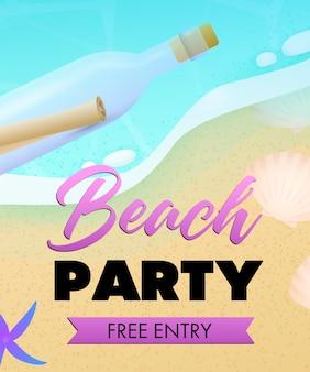Letras de fiesta en la playa, playa de mar y botella con pergamino.
