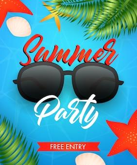 Letras de fiesta de verano con gafas de sol y hojas tropicales.