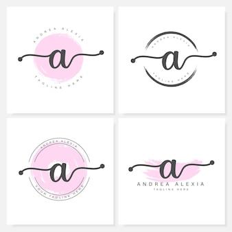 Letras florales femeninas una plantilla de diseño de logotipo