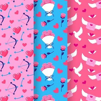 Letras y flores de patrones sin fisuras de san valentín