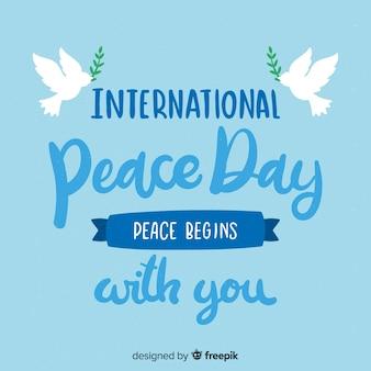 Letras de fondo del día de la paz con paloma