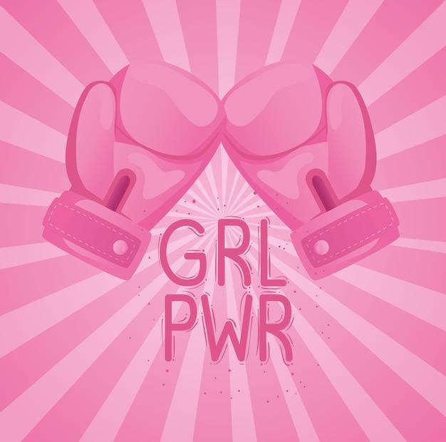 Letras de girl power con diseño de guantes de boxeo