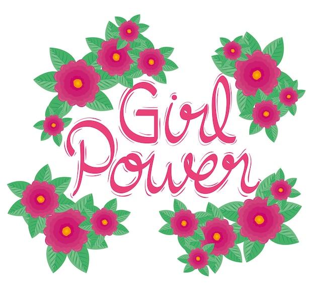 Letras de girl power con diseño de jardín de flores