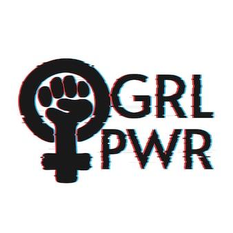 Letras de girl power con efecto de falla