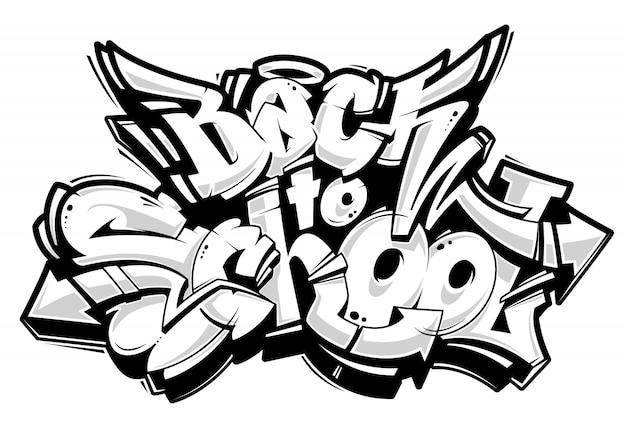Letras de graffiti de regreso a la escuela. bloques de graffiti 3d de estilo salvaje. en blanco y negro. arte vecstor.