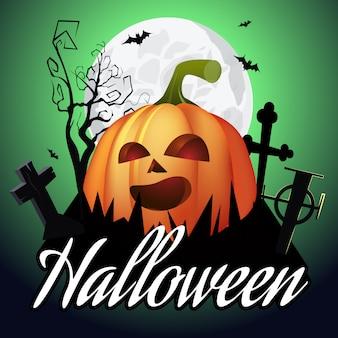 Letras de halloween jack o linterna en cementerio, arbol y luna.