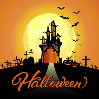 Letras de halloween con luna llena, castillo, cementerio, calabazas