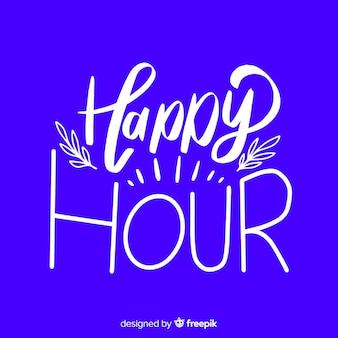 Letras de happy hour de diseño plano con ramas