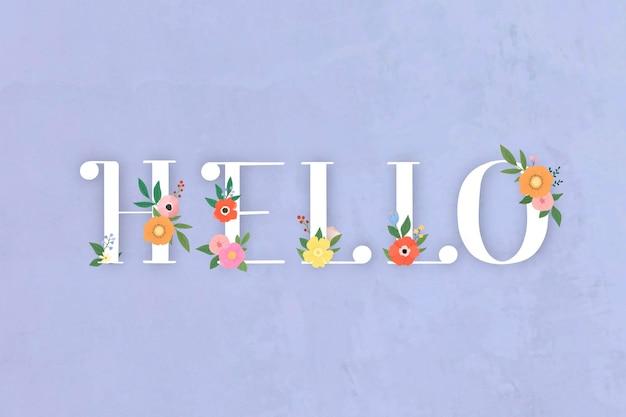 Letras de hola elegante floral