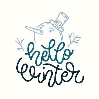 Letras hola invierno