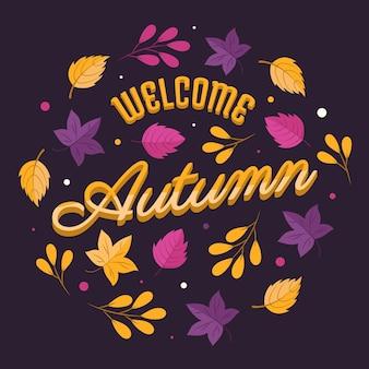 Letras de hola otoño dibujadas a mano