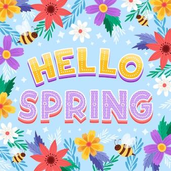 Letras de hola primavera dibujadas a mano