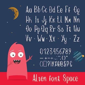 Letras inglesas de abc, números y símbolos.