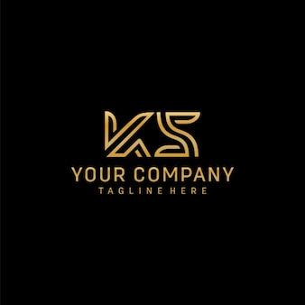 Letras iniciales ks logo con color dorado.